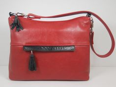 Leather Purse Medium Leather Hobo Bag Red Leather by ThePurseCo, $260.00