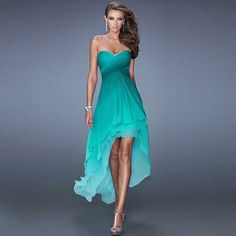 Real Photo Mint High Low Ombre Chiffon Prom Dresses 2015 Vestidos De Festa Criss-Cross Ruching Bodice Tiered Prom Gowns