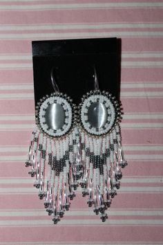 Hand Beaded Cabachon earrings Silver Fox by CatawbaNativeDesigns, $30.00