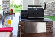 Build Outdoor Kitchen, Outdoor Kitchen Design, Outdoor Kitchens, Outdoor Spaces, Outdoor Living, Patio Grill, Backyard Patio, Backyard Landscaping, Smoke House Diy