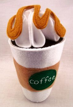 Felt coffee/hot chocolate play set - customizable coffee cup, whip cream, etc! So fun!