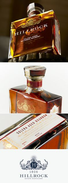 Hillrock Estate Bourbon. Bottle design by Kyle Poff. Beautiful bottle PD