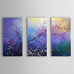 pintura al óleo pintada a mano floral flor del ciruelo conjunto de 3 con marco de estirado-1307 fl0189 - USD $ 119.99