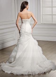 Trumpet/Mermaid Sweetheart Chapel Train Organza Wedding Dress With Ruffle (002056468) - JJsHouse