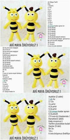 For Beginners Amigurumi Amigurumi Bee (Arı Maya) Free Crochet Pattern Crochet Bee, Crochet Bunny, Crochet Crafts, Crochet Toys, Free Crochet, Diy Crafts, Crochet Amigurumi Free Patterns, Crochet Doll Pattern, Bee Free
