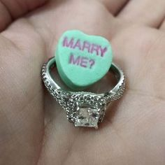 11 Creative Engagement Announcement Photo Ideas With Signage: Valentine candy heart proposal - love this creative photo idea! {Photo courtesy of @Jamie}