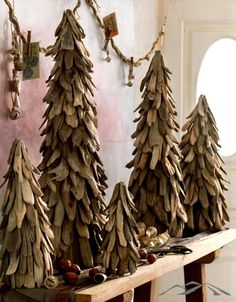 Driftwood Tree. Rustic trees crafted from carefully selected driftwood pieces add a natural element to Christmas decor. Adorn them with lights, small ornaments, preserved pomegranates or antiqued silver bells. Rustic Christmas Decorations. Natural Christmas. Simple Christmas. Country Christmas. Mountain Christmas.