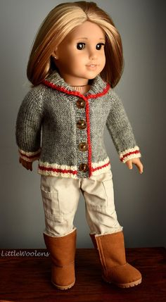Hand Knitted Clothing for 18 Inch American Girl Dolls: Work Sock Cardigan III