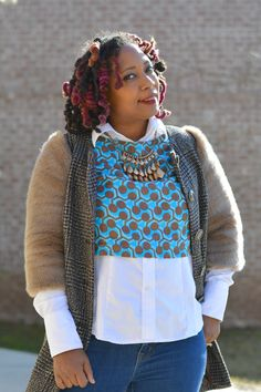 how to win at winter layering, perfectly executed looks that make the most of winter layers, thrift store outfit, thrift style, thrift fashion, diy ankara print crop top, white button up shirt, ASOS coat with fur sleeves | Thriftanista in the City