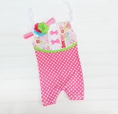 Celebrite Good Times - sitter (6-9m) shortall in hot pink, fuchsia, lime green, aqua, red and pink - includes headband (RTS) by SoTweetDesigns on Etsy
