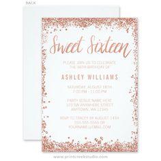 Rose gold sweet 16 invitations