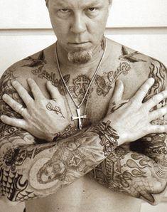 """Dintre del món de la música rock es molt habitual l'excibició de cossos tatuats. James Hetfield, guitarra i solista de """"Metallica"""""""