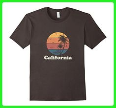 Mens Retro California T Shirt Vintage Sunset & Palm Trees Tee Small Asphalt - Retro shirts (*Amazon Partner-Link)