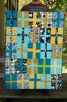 navy, yellow teal cross quilt