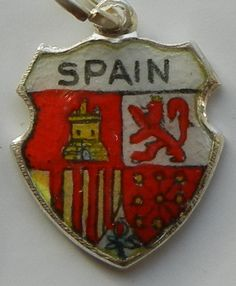 SPAIN Coat of Arms Silver Enamel Travel Shield Charm