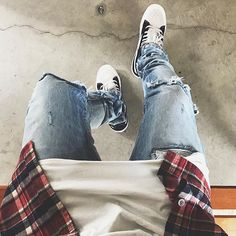 Flannel, White Shirt, And Jeans