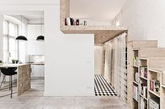 Love the use of the OSB in everywhere. See The Stunning Micro-Apartment This Architect Built For Herself Big Design, Deco Design, House Design, Green Design, Studio Design, Smart Design, Clever Design, Micro Apartment, Apartment Design