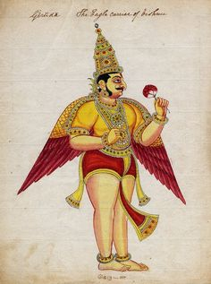 The deity Garuḍa, crowned, winged and holding a lotus in his left hand. Company School, Tanjore Style Date 1814 (circa). Painted in Thanjavur