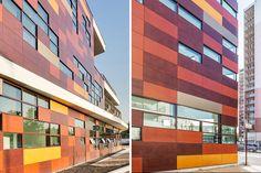 mikou design studio: bobigny school complex. The pixelated facade negotiates the busy urban context