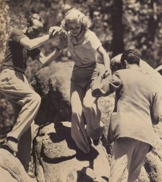 Ginger Rogers climbing rocks in CA (with the help of two gentlemen). they need to feel needed :D Old Hollywood Glamour, Classic Hollywood, A Fine Romance, Fred And Ginger, Ginger Rogers, Fred Astaire, Classic Films, Classic Beauty