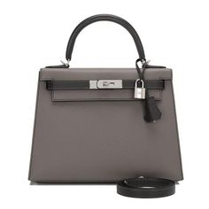 b8204c4b4a56 Hermes Hss Bi Color Black And Etain Epsom Kelly 28Cm Palladium Hardware  Handbags Hermes Birkin