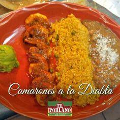 Hoy prueba nuestros Camarones a la Diabla! Deliciosos!! #ElPoblano #MexicanRestaurant #camarones #camaronesaladiabla #latinos