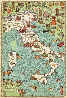 Map of Italy by Aleksandra Mizielińska and Daniel Mizieliński, Big Picture Press/Candlewick.