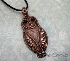 Lilith Symbolic Owl Wire Wrapped Pendant in Copper Copper Wire Jewelry, Wire Jewelry Designs, Owl Jewelry, Animal Jewelry, Beaded Jewelry, Jewellery, Macrame Necklace, Handmade Jewelry, Wire Pendant