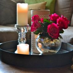 Furniture Inspiration ~ Brilliant Coffee Table Decor Creative Accent Ideas: Beautiful Red Rose In Globe Glass Vase And Silver Candle Holder On Black Round Tray As Sweet Coffee Table Decor Also Gray Fabric Sectional Couch And Cushion As Inspiring Romantic Living Room Decoration Views
