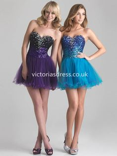 A-line Sweetheart Tulle Lilac Cocktail Dresses/Short Prom Dress With Rhinestone