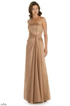 Matte satin A-line bridesmaids gown with beaded bodice. A pleated waistline also showcases an off-set gather in the skirt.