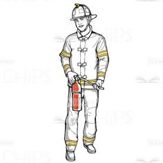 Firefighter With #FireExtinguisher Hand-Drawn Vector Character #handdrawn #artwork #illustration #vector #character #firefighter #fireman #extinguisher #eLearningchips