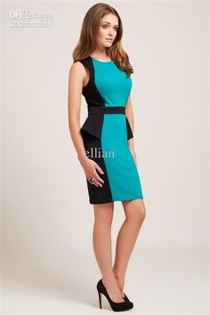 Pretty teal side panel color block dress