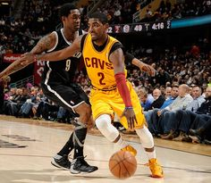 Guard Kyrie Irving drives to the hoop against MarShon Brooks of the Brooklyn Nets at Quicken Loans Arena in Cleveland, Ohio - photo courtesy of David Liam Kyle / NBAE via Getty Images.