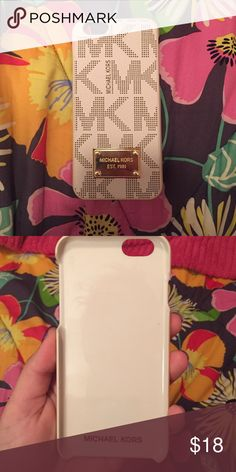 Michael Kors iPhone 6 Case Tan monogram iPhone 6 case. Barely used. Gold plaque. Hard shell case. Michael Kors Accessories Phone Cases