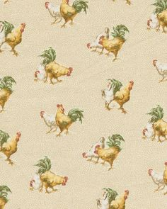 A quirky chicken pattern is great for kitchens.