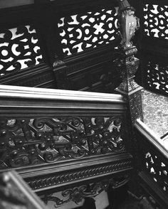 Crewe hall. Carved staircase.
