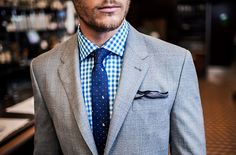 Mens fashion. Mens Style Costume, Sharp Dressed Man, Well Dressed Men, Office Fashion, Gingham Shirt, Blue Gingham, Blue Ties, Spring Fashion, Style Me