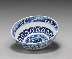 """Early Qing Dynasty, Chinese blue and white bowl, Yongzheng Period; very finely potted wide bowl with a domed bottom; in Islamic-style interlocking decorative and floral bands; the exterior with lotus band and petaled lappets; D: 6 1/8"""""""