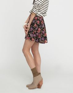 florals + stripes are always a good combo. also love the neutral boot & socks.