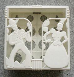 40s 50s Atomic Wht Deco Spanish Mexican Vintage Kitchen Wall Mount Napkin Holder   eBay