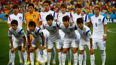 South Korea players pose for a team photo during the 2014 FIFA World Cup Brazil