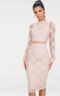 735144ea233 Caris Dusty Pink Long Sleeve Lace Bodycon Dress