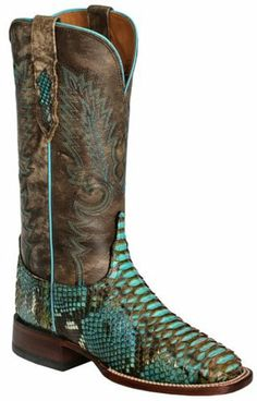 Lucchese Women's Handcrafted 1883 Backcut Python Horseman Cowgirl Boot Square Toe Turquoise US, Aptly named for the year Lucchese created its first boots, the 1883 Lucchese brand is reminiscent of the traditional hallmarks of handcrafted boots of the era. This women's Lucchese cowgirl boot featu..., #Apparel, #Boots