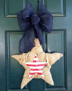 Burlap Star Wreath 4th of July by tiffanynewcomb on Etsy, $48.00