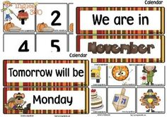 Includes 12 headlines, 31 number cards, plus cards for special dates. November Calendar, Calendar Time, Free Calendar, October, Teacher Freebies, Classroom Freebies, Classroom Themes, Preschool Calendar, Classroom Calendar