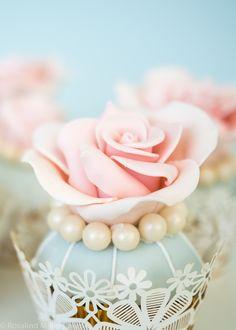 Pink and Blue Rose Cupcake