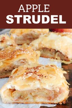 Easy Homemade Apple Strudel with a phyllo crust is perfect for fall baking, brunches, big family breakfast, and a sweet tea time snack! Make this easy apple dessert that absolutely everyone loves! Recetas Pasta Filo, Easy Apple Strudel Recipe, Apple Strudel Puff Pastry, Phyllo Dough Recipes, Phylo Pastry Recipes, Tea Time Snacks, Köstliche Desserts, Apple Dessert Recipes, Driftwood Art