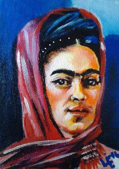 "Saatchi Art Artist Lize Du Plessis; Painting, ""Commission - 5/10 paintings 1/6 Mini Paintings - Frida with Scarf"" #art"