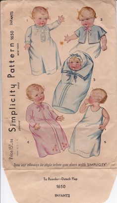 Simplicity 1650 © Early 1930's   Baby Layette, super cute envelope.  Saque, wrapper, slip and baby bag(style 3, so you can place your wrapped baby in, like a burrito!)
